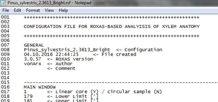 ROXAS configuration file